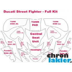 Ducati StreetFighter - naklejki  / folie ochronne - zestaw (bak, owiewka, przedni reflektor, błotnik)