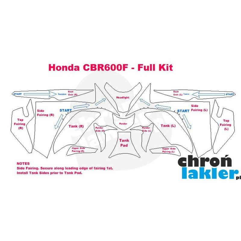 Honda CBR600F naklejki  / folie ochronne - zestaw (bak, owiewka, przedni reflektor / lampa, błotnik) (2011-)